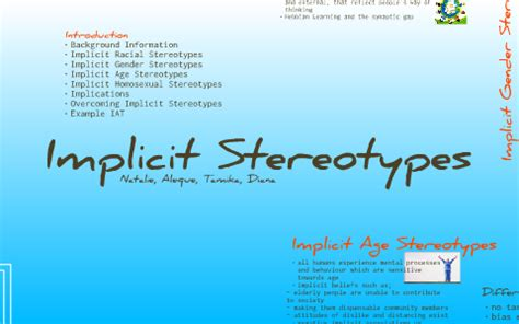 Implicit Stereotypes by Tamika Mulders on Prezi