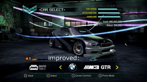 Need For Speed Carbon BMW M3 GTR Improved Manufacturer
